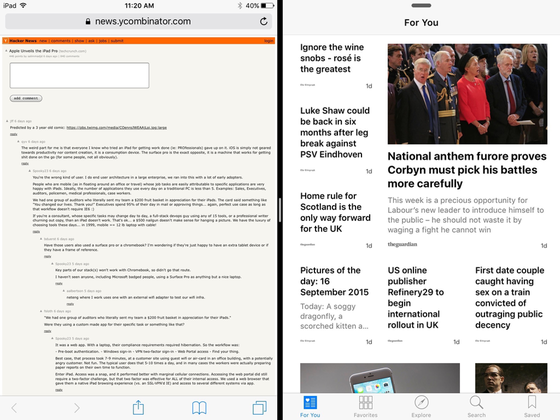 iOS 9 multiwindow resized