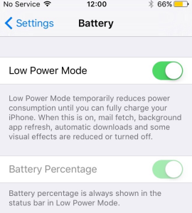 Low Power mode on iOS 9