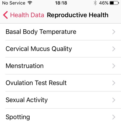 Health app: now with menstruation