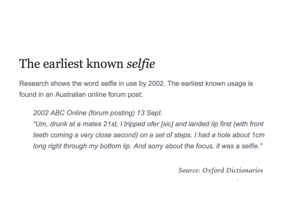 The source of 'selfie'