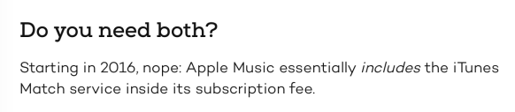 Apple Music/iTunes Match: now the same
